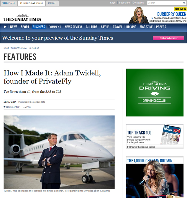 Adam Twidell's Success Story in the Sunday Times