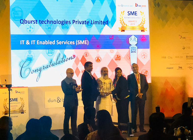The Dun & Bradstreet SME Business Excellence Award 2019 being presented to QBurst